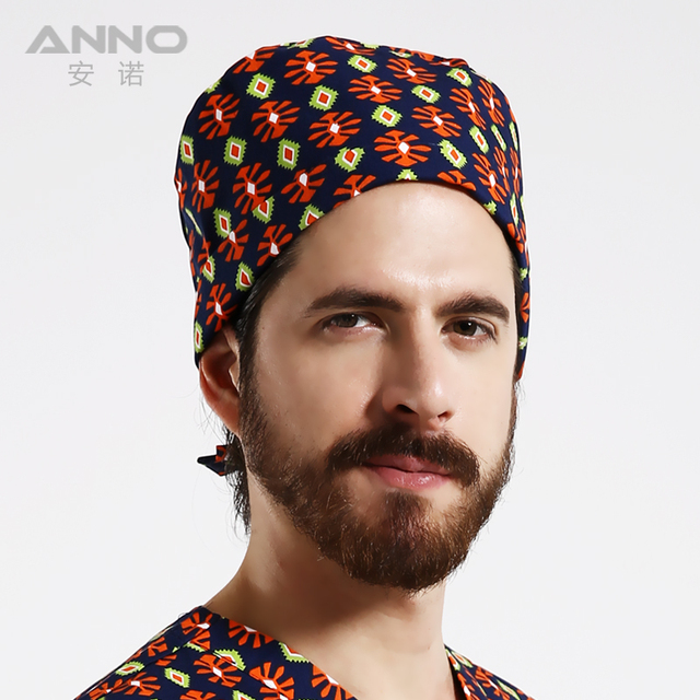 Surgical cap of high quality short hair for doctors and nurses cap cap of the Gourd with cloth cloth print with a small flower