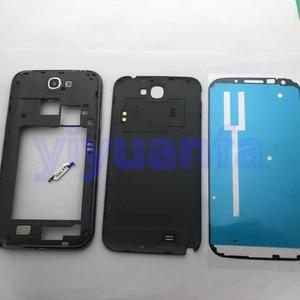 Image 3 - Сменный Чехол с полным корпусом, запасные части для Samsung Galaxy Note 2 II N7100, задняя панель со средней рамкой и переднее стекло