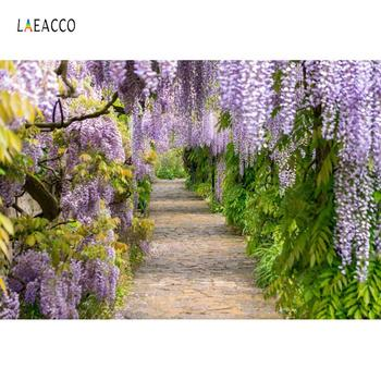 Laeacco Garden Blossom Tassel Flowers Green Vine Way Spring Scenic Photo Backdrop Photography Background Photocall Studio