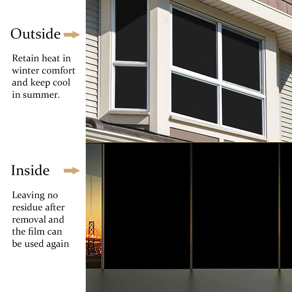 Non transparent Anti UV Privacy Window Film Static Cling Black Frosted No Glue Glass Sticker DIY Bedroom Home Decorative Film in Decorative Films from Home Garden