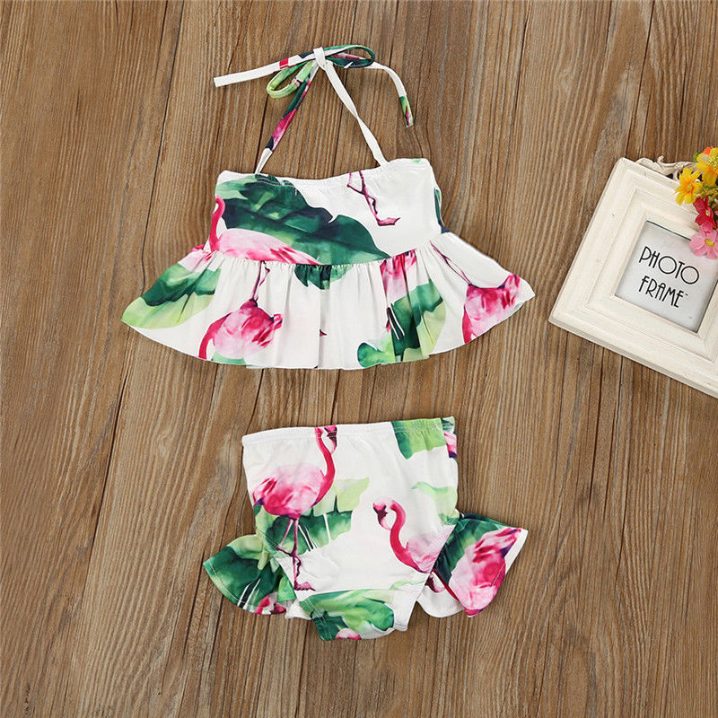 2018 Brand New Newborn Toddler Infant Child Kid Baby Girl Flamingo Swimwear Swimsuit Bikini 2Pcs Set Bathing Suit Costume 1-6T