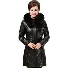 2016 New Women's Winter Jacket Female Thick Fur Collar Warm Alpaca Fiber PU Jackets Slim Winter Coat Women Winter Parka L-6XL