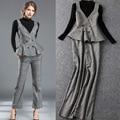 3 Pieces Set New Autumn Winter Fashion Women Black Sweater+Spaghetti Strap Plaid Vest Top+Check Print Pant Trousers(1Set)Work OL