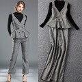 3 Unidades Set Nuevo Otoño Invierno Moda Mujer Suéter Negro + Espaguetis Correa Superior Chaleco A Cuadros de Verificación + Print Pant pantalones (1 Unidades) Trabajo OL