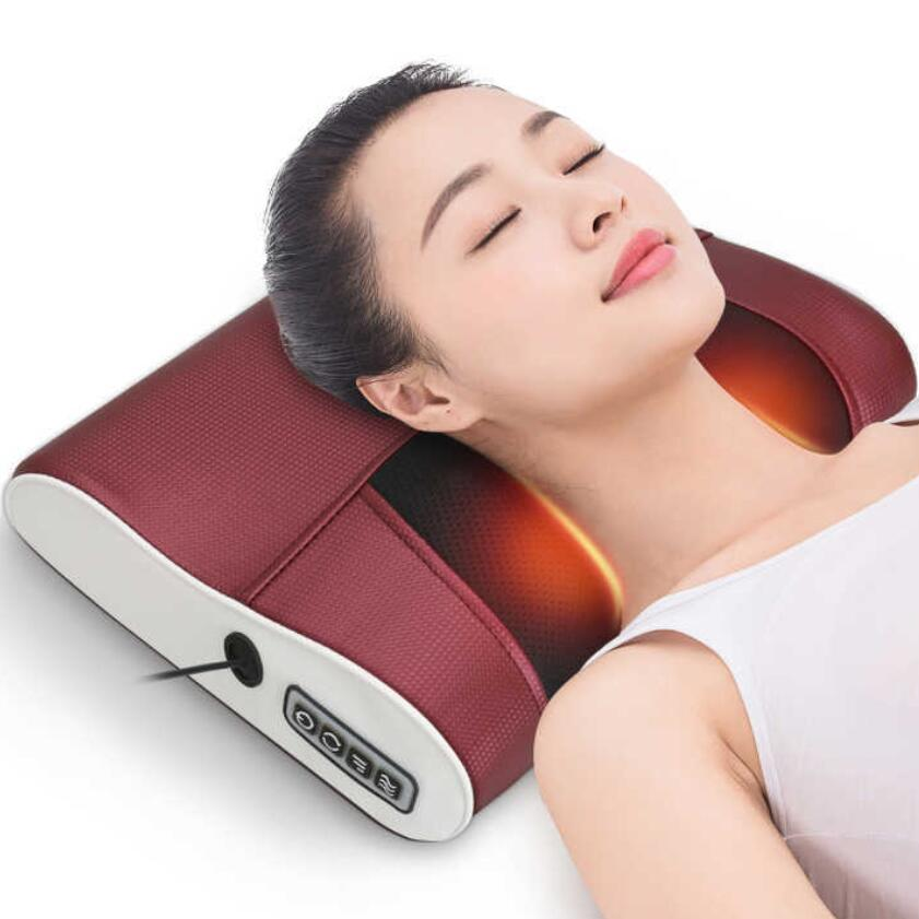 infrared neck shoulder back body electric shiatsu heating massage pillow for relaxation