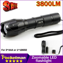 Big Promotion Ultra Bright XML-T6 3800Lumens led Torch Zoomable LED Flashlight For 3xAAA or 1x18650 Free shipping