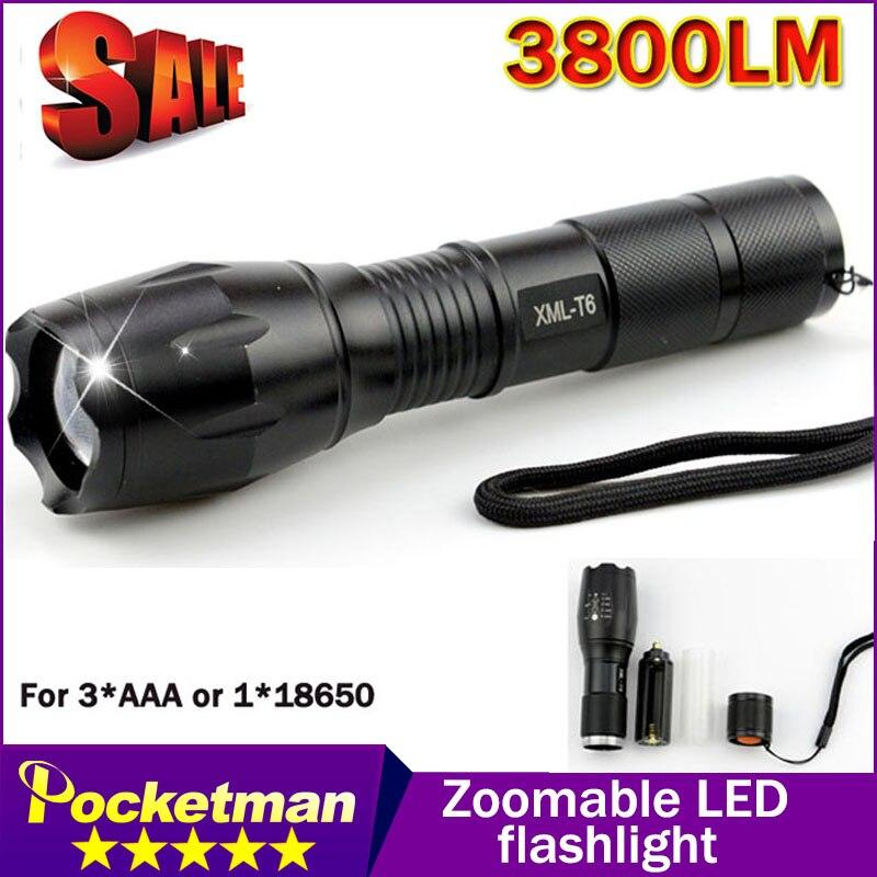 Grande Promotion Ultra Lumineux XML-T6 3800 Lumens led Torche Zoomables LED lampe de Poche Pour 3 3xaaa ou 1x18650 Livraison gratuite
