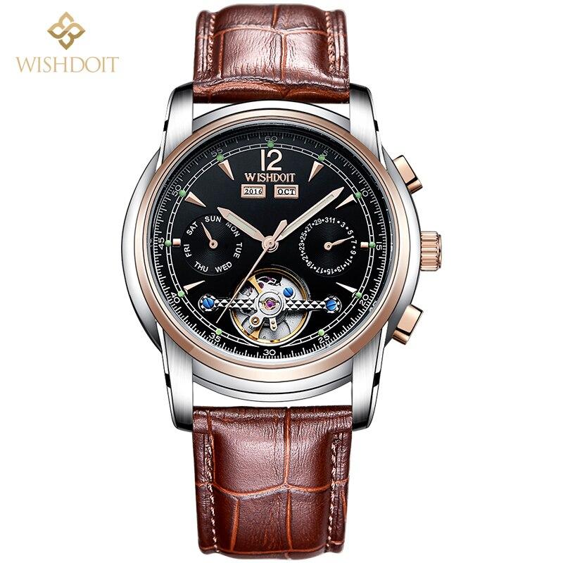 Brand design luxury Men's watch Tourbillon automatic mechanical watches men Sapphire calendar relogio masculino leather strap