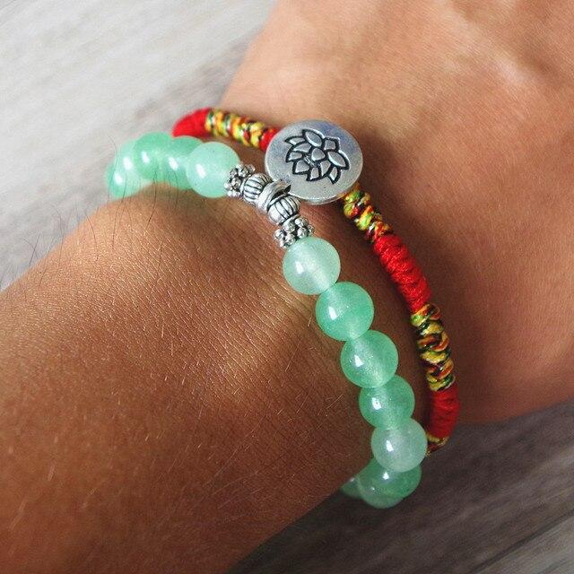 2 Pcs/set Buddha Lotus Beads Women's Bracelet Yoga Chakra Mala Bracelet Lucky Red Rope Charm Friendship Bracelet Jewelry