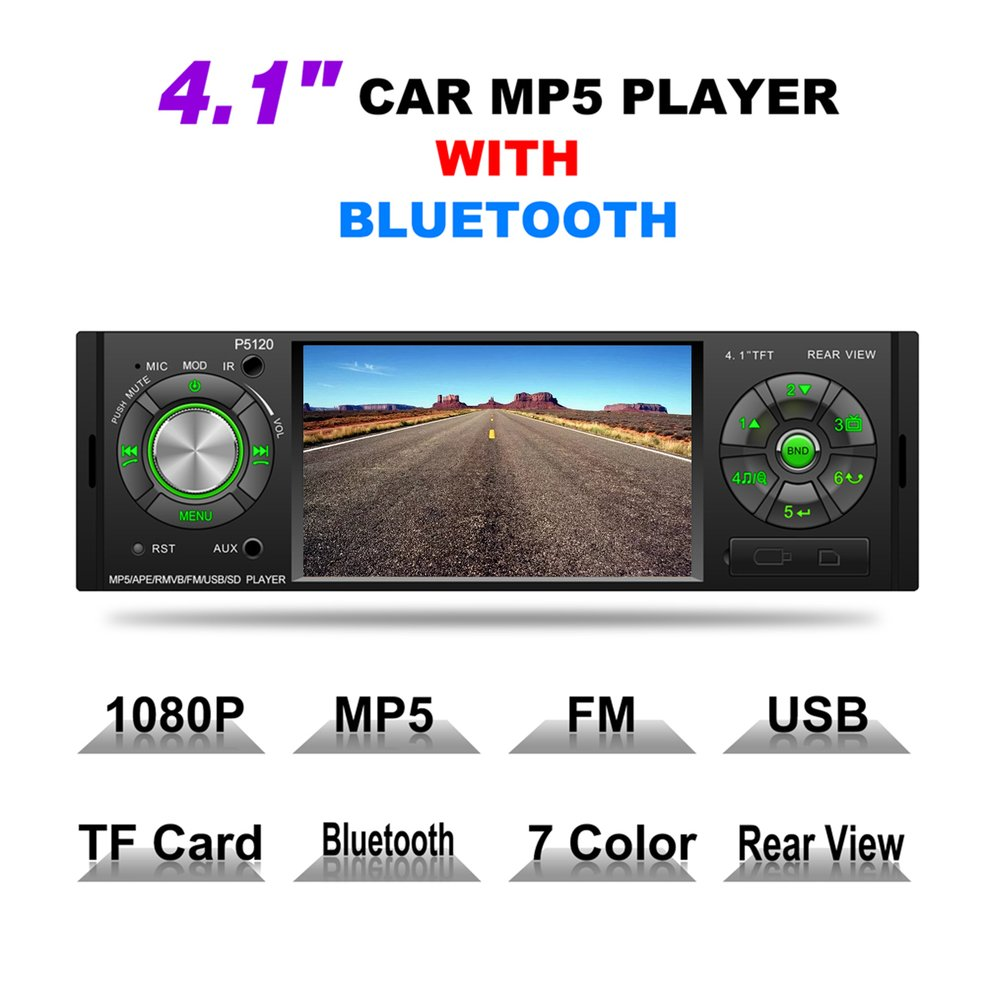 New 4.1 Car MP5 Player 1080P HD TFT LCD Bluetooth Music Player FM Radio Rear View AUX IN Multimedia Player Support TF Card new 7 inch 2din bluetooth car radio video mp5 player auto radio fm 18 channel hd 1080p in dash remote control rear view camera