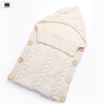 Baby Woolen Swaddle Wrap Blanket Envelope for Newborn Infant Girls Boys Knit Crochet Winter Sweater Sleeping Bag Sack MUQGEW