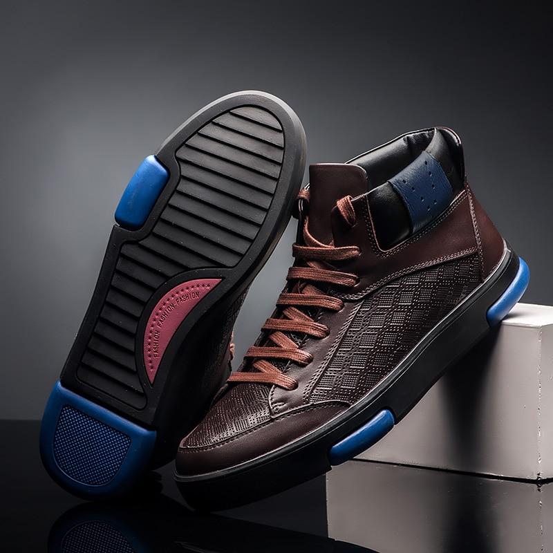 Alta De Hombre Invierno Genuino Black Algodón Cuero Size36 47 Piel Moda brown Plus Para Zapatos Skateboard Calidad Hombre Cálida fSqgfI