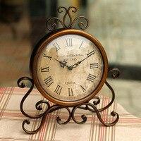 vintage metal desktop clock with silent clock movement crafts home decoration shabby chic home watch relogio de mesa horloge 17