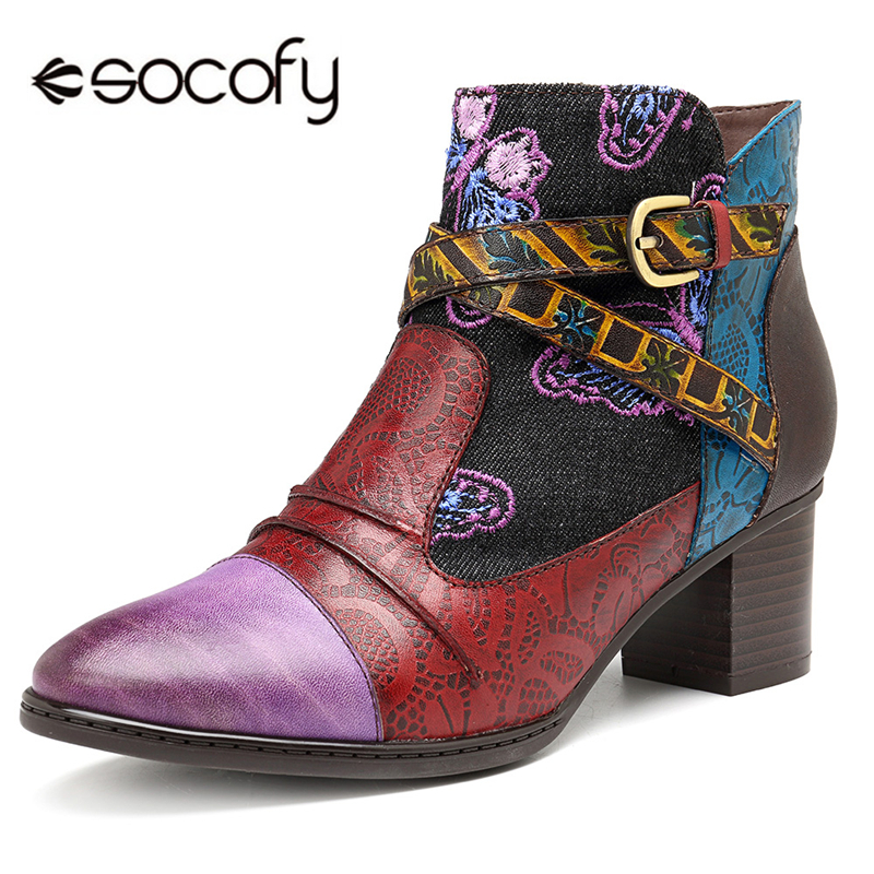 Socofy Vintage Western Cowboy Winter Boots Women Shoes Woman Genuine Leather Splicing Ankle Boots For Women 2019 Winter Fashion zobairou hot design suede ankle riding boots women western cowboy shoes woman fashion real genuine leather dicker boots 34 41
