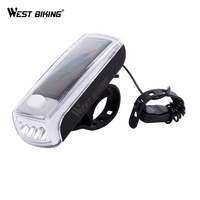 WEST BIKING Cycling Light LED Speaker Solar Powered Lamp USB Rechargeable Bicycle Front Head Flashlight Bell