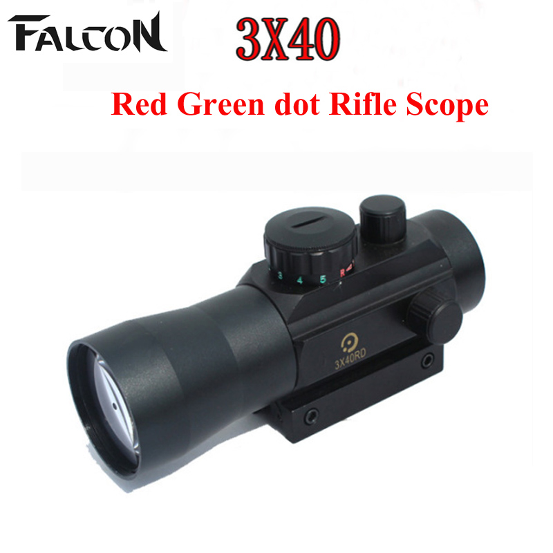 2017 New Holographic 3X Magnification 3x40 Red Green Dot Tactical Sight Scope For Hunting Shooting With Mount Riflescope