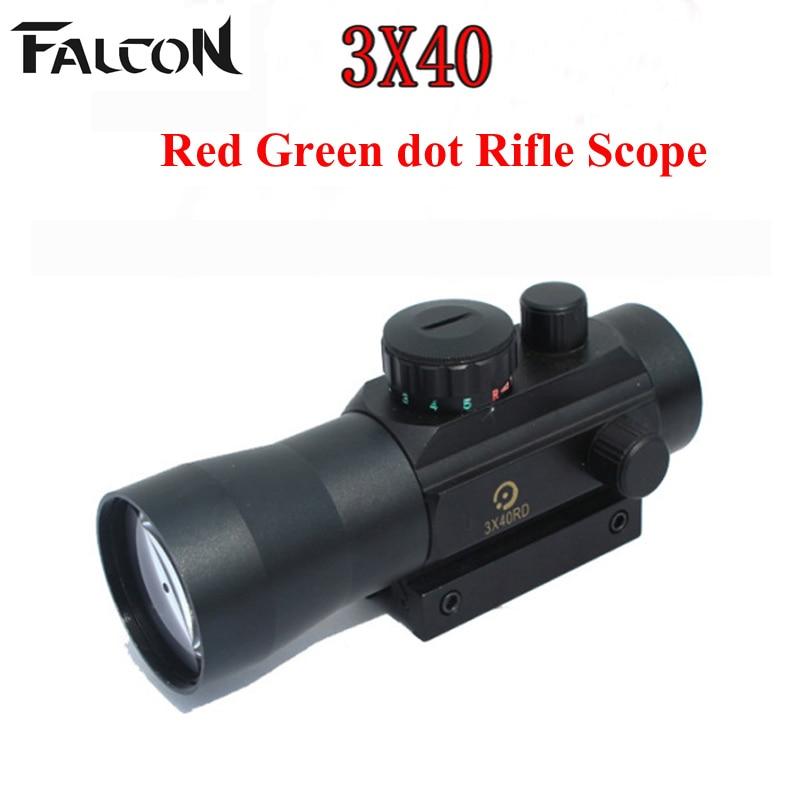 Nuevo riflescope 3X Magnificación 3x40 Red Green dot Rifle Scope - Caza