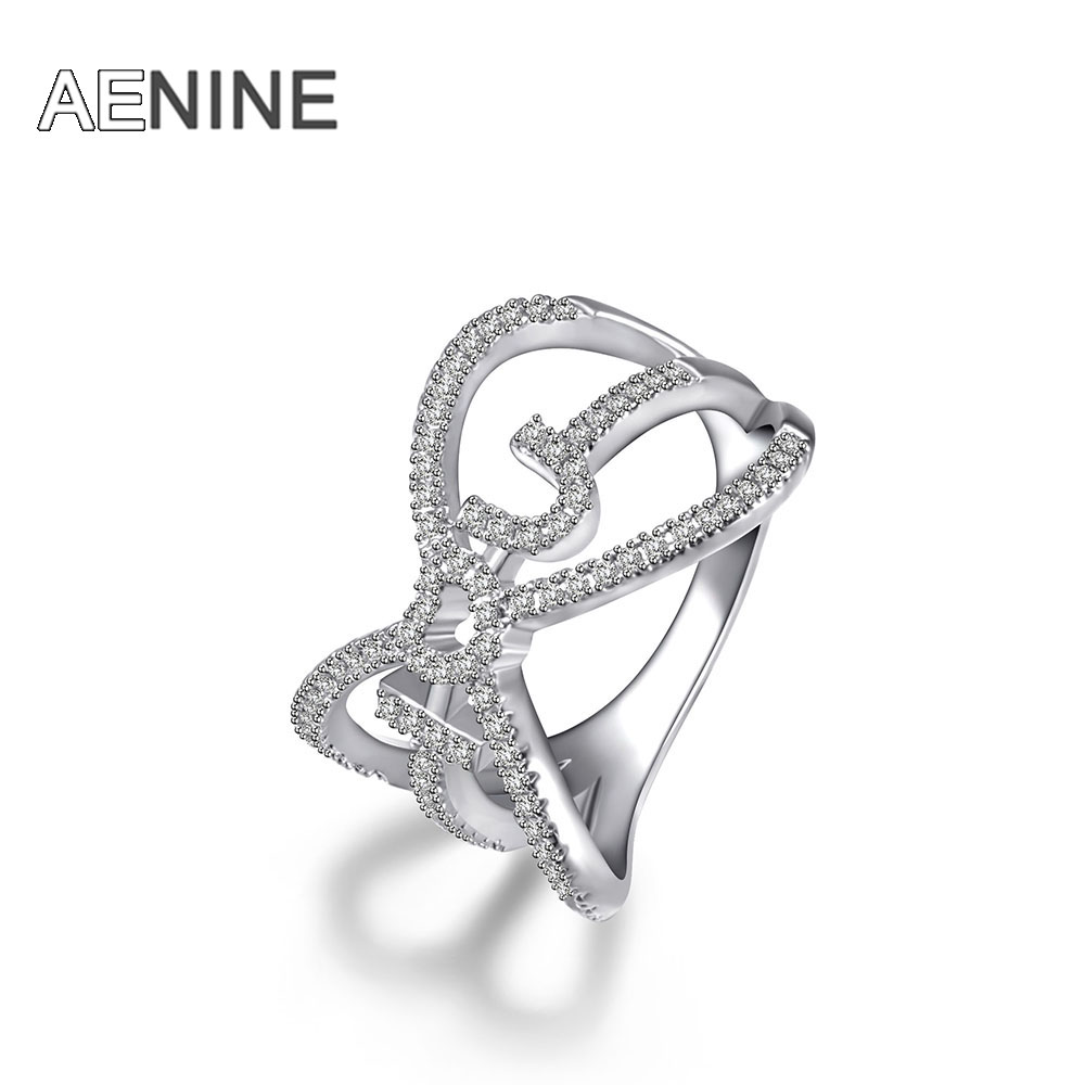 AENINE Lovely Ladies I Love You Rose Gold Color Finger Rings For Women Mosaic Cubic Zirconia Wedding Ring Jewelry R170140437P