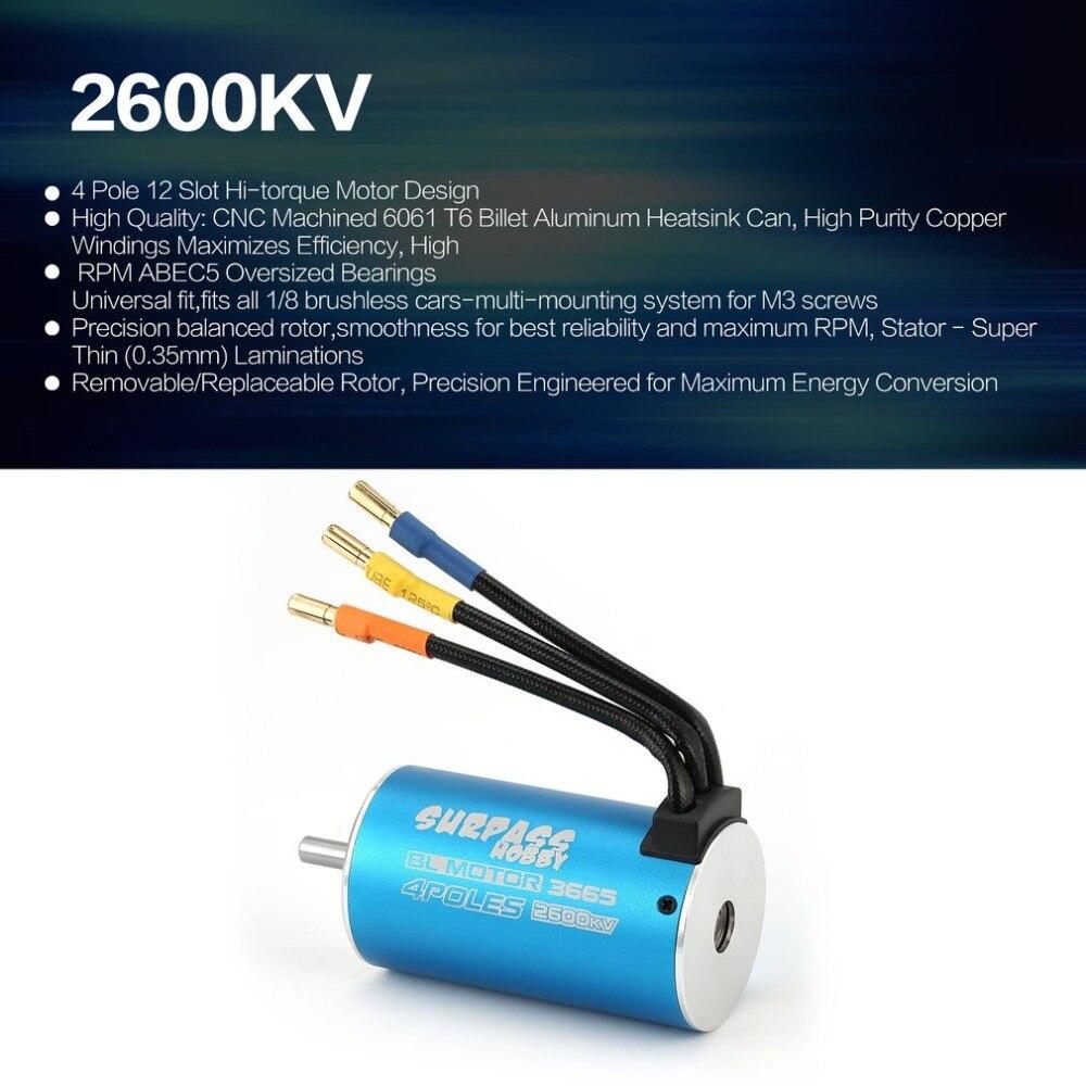 SURPASSHOBBY 3665 2600KV 2.5Y 5mm Motor sin escobillas para 1/8 RC piezas de Control remoto piezas de repuesto accesorios componente fz