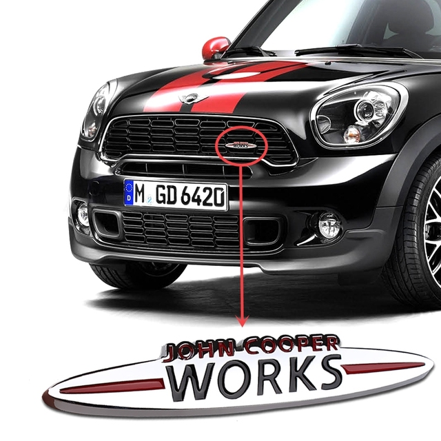 Metal car logo 3d jcw badge stickers for mini cooper head grill s one clubman countryman