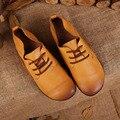 2016 Новая Мода Женщины Обувь Из Натуральной Кожи Женщины Квартиры узелок Ручной Кожа Коровы Старинные Обувь 8811