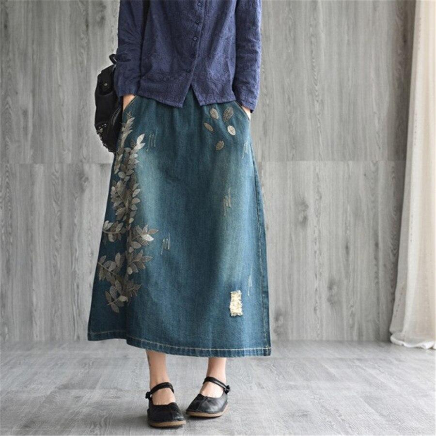 Vintage Denim Jupe Modis D'été 2019 Occasionnel Lâche Coton Broderie Midi Jupe Ealstic Poches Jeans Jupe Feminino Ds50522