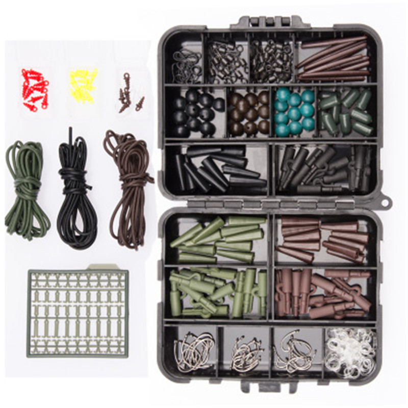 Complete Carp Fishing Accessories Kit Full Set Line Scissors Stopper Hook Swivel Rubber Sleeve Sinker Lock Hair Rig Lead Clips