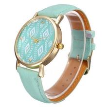 Popular Women's Vintage Faux Leather Delicate Quartz Geometric Pattern Watches NO181 5V8V W2E8D