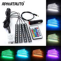 4pcs Car RGB LED Strip Light LED Strip Lights Colors Car Styling Decorative Atmosphere Lamps Car Interior Light With Remote 12v