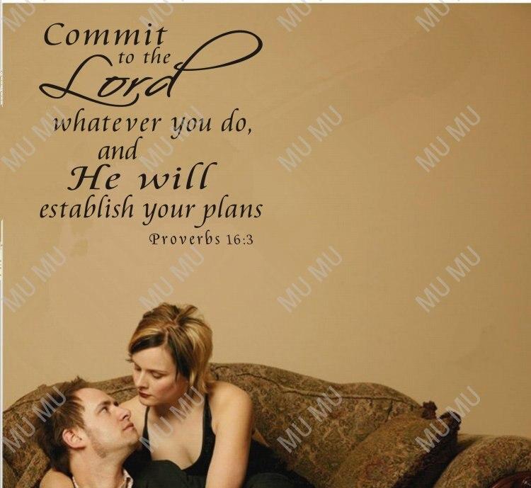 spreuken 16 3 Proverbs 16:3, Vinyl Wall Art,SIZE 22