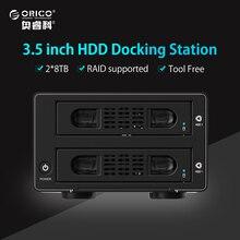 "ORICO werkzeuglose Aluminium 2 Bay 3,5 ""SATA 3,0 USB3.0 & eSATA HDD Externe Docking Station RAID funktion 2 buchten HDD Fall"