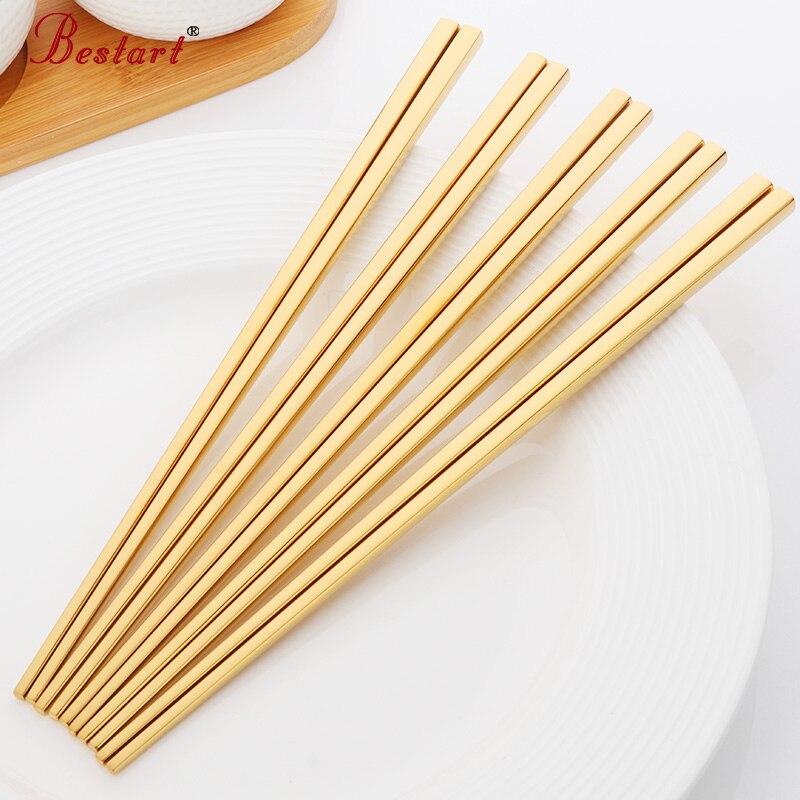 5paris Sushi Hashi Çubuqlar Ev 304 Paslanmayan Polad Meydan Qızıl - Mətbəx, yemək otağı və barı - Fotoqrafiya 5