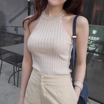 Debardeur Femme Camisas Mujer, короткий топ для женщин,, летний топ с бретельками через плечо, Женский Трикотажный Хлопковый женский топ и блузки - Цвет: Gray Tops