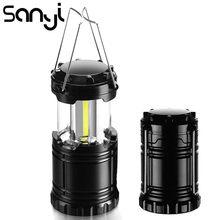 Sanyi mini lanterna portátil de led, 3 * cob, lâmpada para acampamento, à prova d' água, luz para acampamento, alimentada por 3 * aaa
