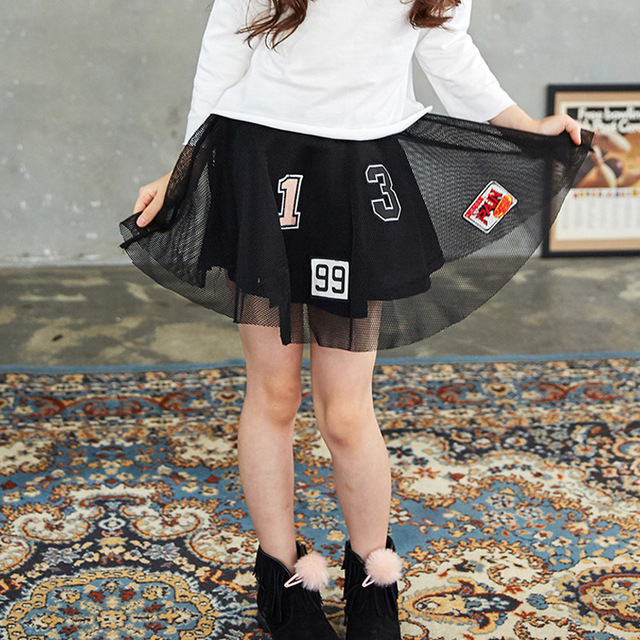 Girl Skirt Tutu Princess Party Lace Mesh Black 2-18 Years Short Multilayer Cute 2017 New Children Infant Kids Petticoat Clothes