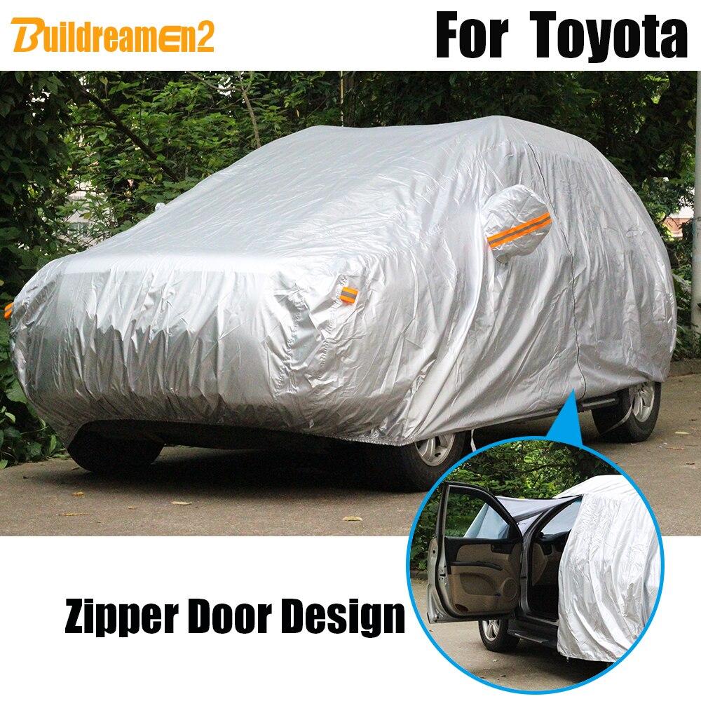 Buildreamen2 Waterproof Car Cover Outdoor Sun Rain Snow Protection Cover For Toyota Avalon Yaris Matrix RAV4 Wish 4 Runner E'Z