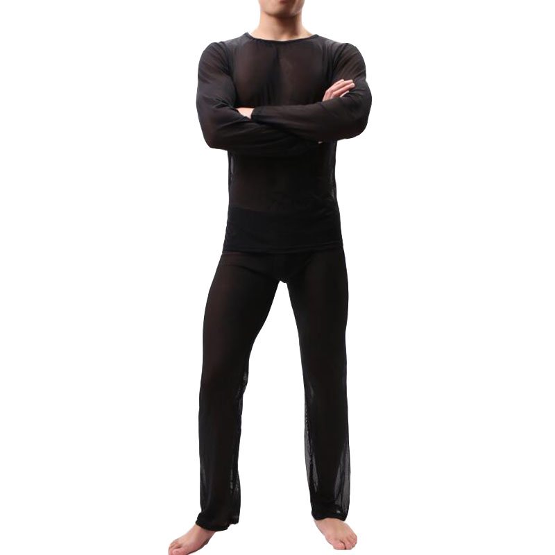 KWAN.Z Pijama Hombre Thin Transparent Sexy Men Underwear Pajamas Sleepwear Long Sleevess Pyjamas Men Mesh Comfortable Set