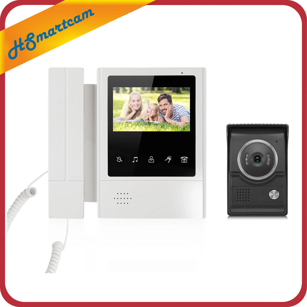 4,3 Color Video puerta teléfono intercomunicador timbre IR visión nocturna Cámara Monitor inicio intercomunicador sistema agregar 5m cable de prueba - 2
