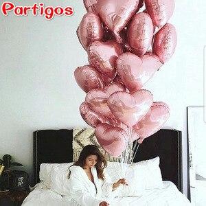 Image 5 - 50 pçs 18 polegada rosa ouro vermelho rosa folha de amor coração balões de hélio festa de aniversário casamento balões dia dos namorados globos suprimentos