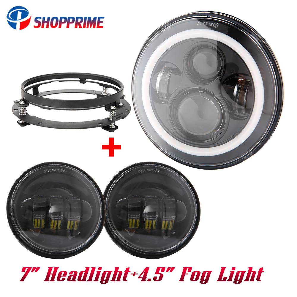 7inch led headlight white drl 4 5 inch halo fog lights adapter ring for harley touring road king electra glidestreet glide [ 1000 x 1000 Pixel ]