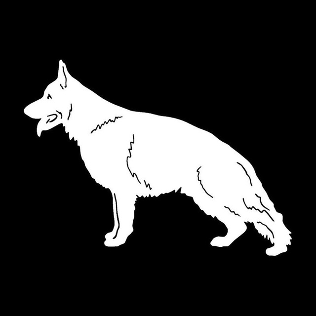 17.3*12.7CM German Shepherd Dog Car Stickers Personality Vinyl Decal Car Styling Truck Accessories Black/Silver S1-0700