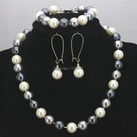 2014 New Fashion Charming Free Shipping 12MM Elegant White Black Gray Shell Pearl Necklace 18 W0072