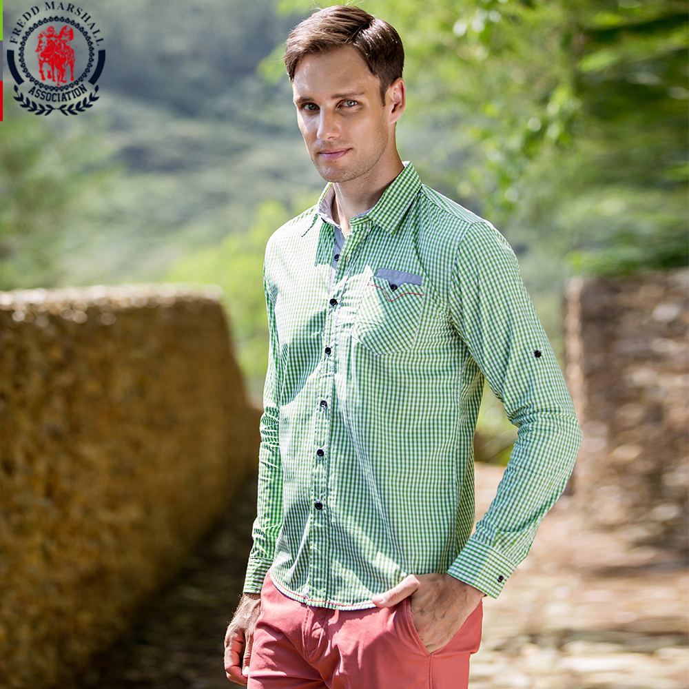 2017 New Arrival Men's Shirt Long Sleeve Plaid Shirts Mens Dress Shirt Brand Casual Denim Style Checks Shirts 106 100% High Quality Materials