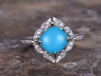 7mm Cushion Cut Turquoise Engagement Ring White Gold Plated 925 Sterling Silver Stacking Retro Style Bridal