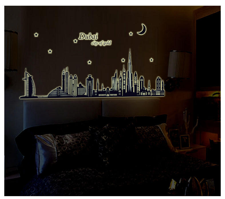 New product Luminous dubai silhouette sitting room bedroom home decoration wall stickers in the wall to stick on the wall CC-102