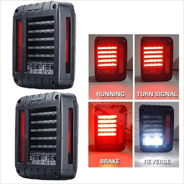 ФОТО 2pcs the Newest LED Tail Light With Brake Turning Reverse Light For Wrangler 07-16 Europe/US Type