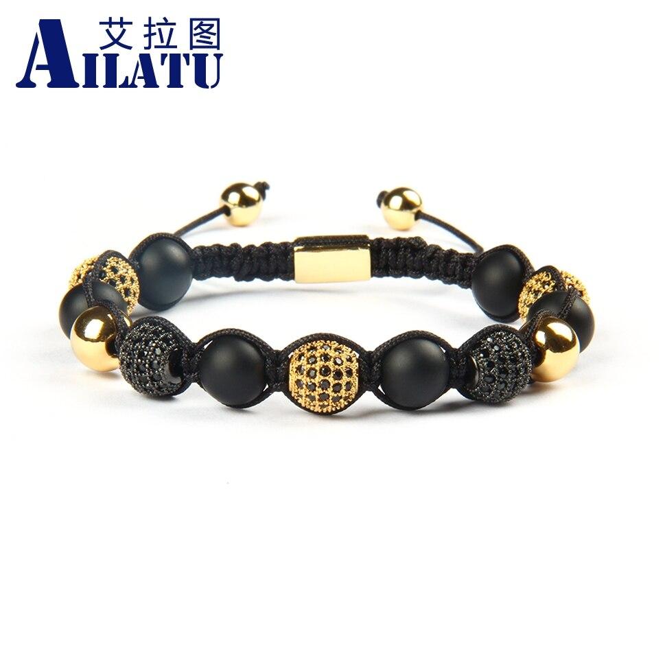Ailatu Wholesale 10pcs lot 8mm Natural Matte Onyx Stone Beads with Micro Pave Blac Cz Ball