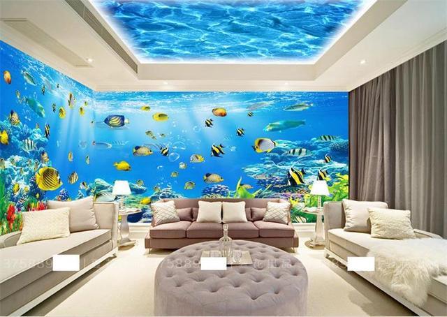 3d Room Wallpaper Custom Murals Non Woven Wall Sticker Under Sea Theme  Space Photo TV