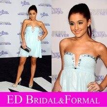 Ariana Grande Kleid Trägerlosen Chiffon Mint Green Prom Kleid Promi Abendkleid vestido de festa curto