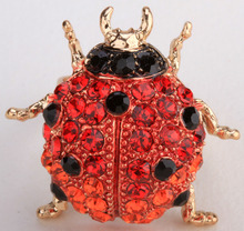 Red Ladybug stretch ring for women crystal rhinestone summer fashion jewelry gold tone animal charm wholesale dropship gifts(China)
